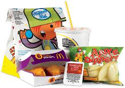 This version of the McDonald's kids meal, 6-piece chicken McNuggets with apple dippers and caramel dip, contains 355 calories and 15.5 grams of fat.