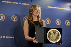 Director Kathryn Bigelow poses with her Feature Film Award for The Hurt Locker at the 62nd Annual Directors Guild Of America Awards.