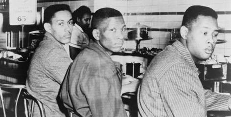 Students from North Carolina A&T College stage a sit-in protest at the F.W. Woolworth lunch counter on Feb. 2, 1960.