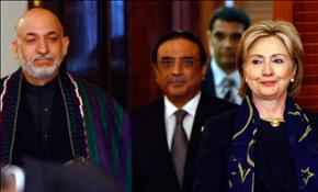 Secretary of State Hillary Clinton with the president of Afghanistan and Pakistan