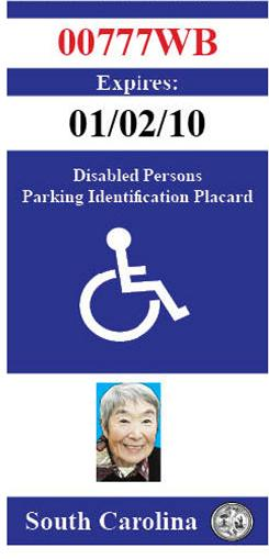 South Carolina will begin issuing disabled placards that contain a photo of the individual to whom the placard was issued, along with certificates verifying their eligibility.