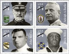 Clockwise, from left: William Sims, commander of U.S. naval forces in European waters during World War I; Arleigh Burke, a top destroyer squadron commander in World War II; Doris Miller, cited as the first black American hero of World War II; John McCloy, one of the few men in the nation's history to earn two Medals of Honor.