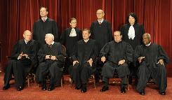 Nearly 70 cases await resolution this term. Front row, from left: Justice Anthony Kennedy, Justice John Paul Stevens, Chief Justice John Roberts, Justice Antonin Scalia and Justice Clarence Thomas. Back row: Justices Samuel Alito, Ruth Bader Ginsburg, Stephen Breyer and Sonia Sotomayor.