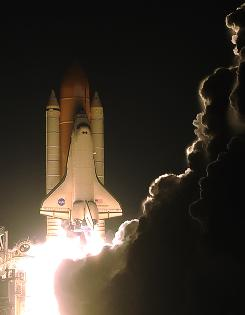 The space shuttle Endeavour lifts off from Kennedy Space Center for a mission to the International Space Station on Monday.