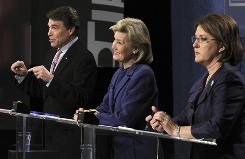 Republican gubernatorial candidates Texas Gov. Rick Perry, Sen. Kay Bailey Hutchison, center, and Debra Medina debate Jan. 29. The race has highlighted the strains between the GOP establishment and Tea Party activists.