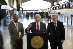 Sen. Frank Lautenberg, D-N.J., center, addresses the Jan. 3 security breach at Newark Liberty International Airport, in Newark, N.J., from the airport on Jan. 6.