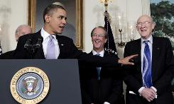 President Obama stands introduces Erskine Bowles, second from right, and Alan Simpson, at the White House on Thursday as the co-chairmen of the National Commission on Fiscal Responsibility and Reform.