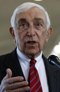 In this Jan. 6 photograph, Sen. Frank Lautenberg, D-N.J., speaks during a news conference at Newark Liberty International Airport.