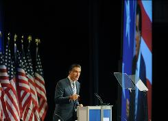 Mitt Romney speaks at the Conservative Political Action Conference on Thursday.