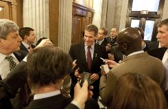 Sen. Scott Brown, R-Mass., talks to reporters after he voted for cloture on the Jobs Bill on Capitol Hil on Monday.