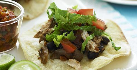 This Weight Watchers recipe makes four servings of two tostadas each.