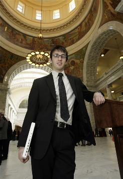 Jake Trimble, an intern in the Utah State House of Representatives, graduated in January, halfway through his senior year at the Academy of Math Engineering and Science in Salt Lake City.