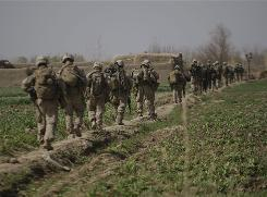 U.S. Marines from 3rd Battalion, 6th Marine Regiment patrol in Marjah in Afghanistan's Helmand province on Thursday.