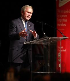 Former President George W. Bush speaks at the Fort Worth Christian Schools gala at the Omni Hotel, Feb. 27.