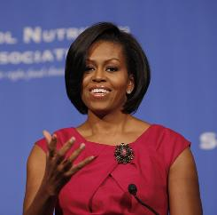 First lady Michelle Obama speaks to the School Nutrition Association Legislative Action Conference in Washington, Monday, March 1.