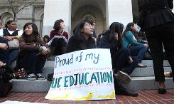 Danielle Lim, 19, a sophomore at the University of California, Santa Cruz, joined more than 150 other UC students and supporters in demonstrating at the capitol in Sacramento against budget cuts to the UC system March 1.