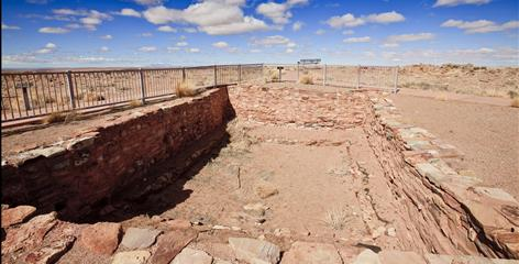 The kiva sits near a closed entrance at Homolovi Ruins State Park in Winslow, Ariz. It was closed Feb. 22.