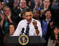President Obama gives a spirited speech on health care legislation Monday at Arcadia University in Glenside, Pa.