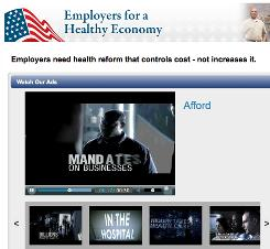 Employers for a Health Economy distributes this ad via e-mail and on its website, employersforahealthyeconomy.org.