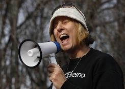 Activist Cindy Sheehan leads an anti-war protest outside of CIA headquarters in Langley, Va., on Jan. 16.