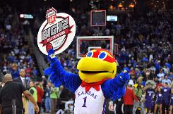 The mascot for the Kansas Jayhawks celebrates after the team's March 13 win. Next up, they'll play Lehigh University in the NCAA college basketball tournament. Kansas is the No. 1 seed for the real deal and also in Inside Higher Ed's bracket based on academics.