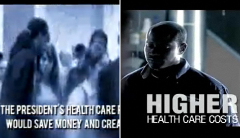 Left: An ad in support of President Obama's health care bill says legislation would help hold down health insurance rates and create jobs; Right: An ad against current health care legislation targets members of Congress who may have reservations about the bill.