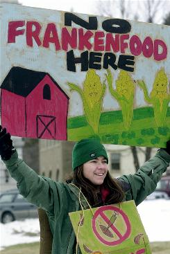 Cat Buxton of Sharon, Vt., holds a sign during a 2003 demonstration in Montpelier, Vt., against genetically modified crops.