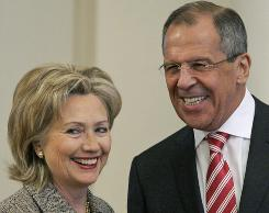 Secretary of State Hillary Rodham Clinton and Russian Foreign Minister Sergey Lavrov before their talks Thursday in Moscow.