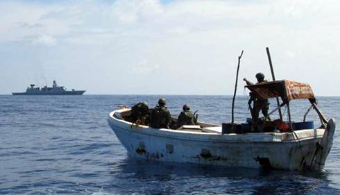 Warships blasting Somali pirates out of water