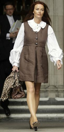 Katrin Radmacher leaves the Court of Appeal in London last April.  A prenuptial agreement between Radmacher and her ex-husband is at issue in court.