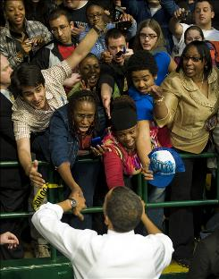 President Obama greets the crowd after speaking about health care on Friday in Fairfax, Va.