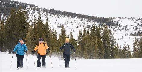 From left, Rabbi Jamie Korngold, worship consultant Marcia McFee and Rev. Karen Foster, snowshoe at Tahoe Meadows near Lake Tahoe. The three have written books on how physical adventure, particularly in snow, is a spiritual gateway.