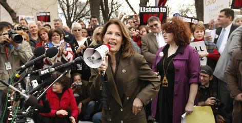 Rep. Michele Bachmann, R-Minn., speaks at a health care rally by The American Grassroots Coalition and The Tea Party Express on March 16 on Capitol Hill.