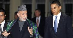 President Obama meets with Afghan President Hamid Karzai, left, at the presidential palace in Kabul.