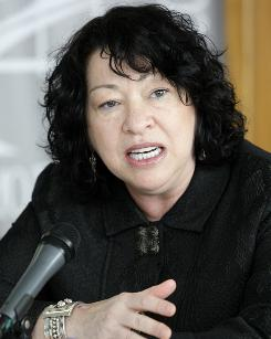 U.S. Supreme Court judge Sonia Sotomayor gives some remarks to the media upon her arrival to San Juan, Wednesday, Dec. 16, 2009.