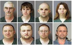 This combination of eight photos provided by the U.S. Marshals Service shows from top left, David Brian Stone Sr.; David Brian Stone Jr.; Jacob Ward; Tina Mae Stone and bottom row from left, Michael David Meeks; Kristopher T. Sickles; Joshua John Clough; and Thomas William Piatek.