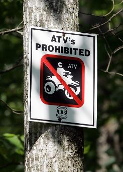 A sign warns visitors at the Mountaintown Roadless Area near Mountaintown, Ga. in 2007.