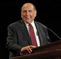 President of the Church of Jesus Christ of Latter-Day Saints Thomas Monson gives the opening talk at the 180th Annual General Conference of the church Easter weekend in Salt Lake City, Utah. Thousands of members of the Mormon Church gathered at the event to hear guidance from church leaders.