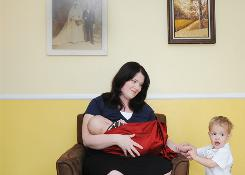 Keely Shaw, 30, feeds her 5-month-old son Halston while her 2-year-old Wiley plays. Both boys were born premature in the 35th week and drank breast milk from the milk bank while Keely waited for her body to produce milk. She now donates breast milk to The Denver Milk Bank.