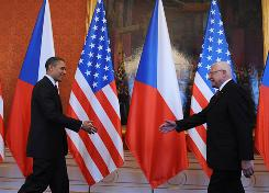 President Obama is greeted by his Czech Republic's counterpart Vaclav Klaus before bilateral meeting at the Prague Castle in Prague on April 9.