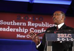 Republican National Committee Chairman Michael Steele speaks at the Southern Republican Leadership Conference in New Orleans on Saturday.