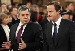 Prime Minister Gordon Brown, left, is known for losing his temper in parliamentary debates. Conservative Party leader David Cameron, right, is viewed as charismatic and youthful.