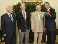 President Obama with Apollo 11 astronauts, from left, Buzz Aldrin, Michael Collins and Neil Armstrong in the Oval Office on July 20, 2009.
