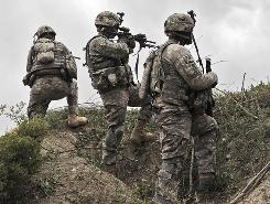 U.S. soldiers on patrol last week near Ibrahim Khel village in Afghanistan's Khost province.