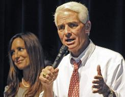 Gov. Charlie Crist and his wife Carole spoke at the dedication ceremony at the Alonzo and Tracy Mourning Senior High School Biscayne Bay Campus in North Miami on Miami.