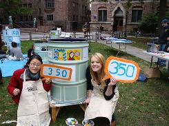 Yale Student Environmental Coalition members Joy Sun and Megan Altizer and other undergrads joined forces with Act New Haven and other environmental groups in the area to create a giant human 350, which stands for 350 parts per million  the upper limit of carbon dioxide in the atmosphere that is safe for humans, scientists say. The event was part of a worldwide photo petition on International Day of Climate Action in October.