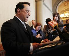 N.Y. state Senate Majority Leader Pedro Espada, Jr., D-Bronx, speaks during a news conference at the Capitol in Albany on Tuesday.