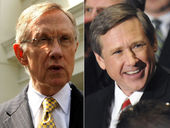 Left, Senate Majority Leader Harry Reid, D-Nev.; Rep. Mark Kirk, R-Ill., a senatorial candidate.