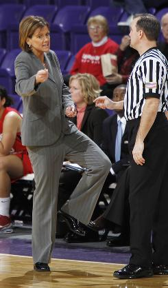 Robin Pingeton disputes a foul while coaching Illinois State University in their game against Northern Iowa, Jan. 28.