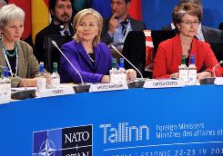 Britain's permanent representative to NATO Mariot Leslie, left, and U.S. Secretary of State Hillary Clinton, center, attend the informal meeting of NATO Foreign Ministers, in Tallinn on Thursday.